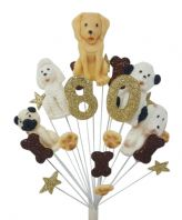 Dogs 80th birthday cake topper decoration - free postage